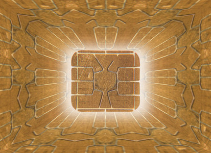 Full frame close up golden computer chip