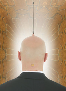 Businessman with antenna and computer chip in head