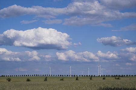 Wind turbines in sunny idyllic rural field below clouds in blue sky