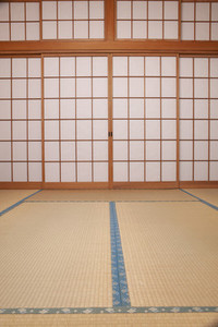 Mats and fusuma doors in Japanese spa