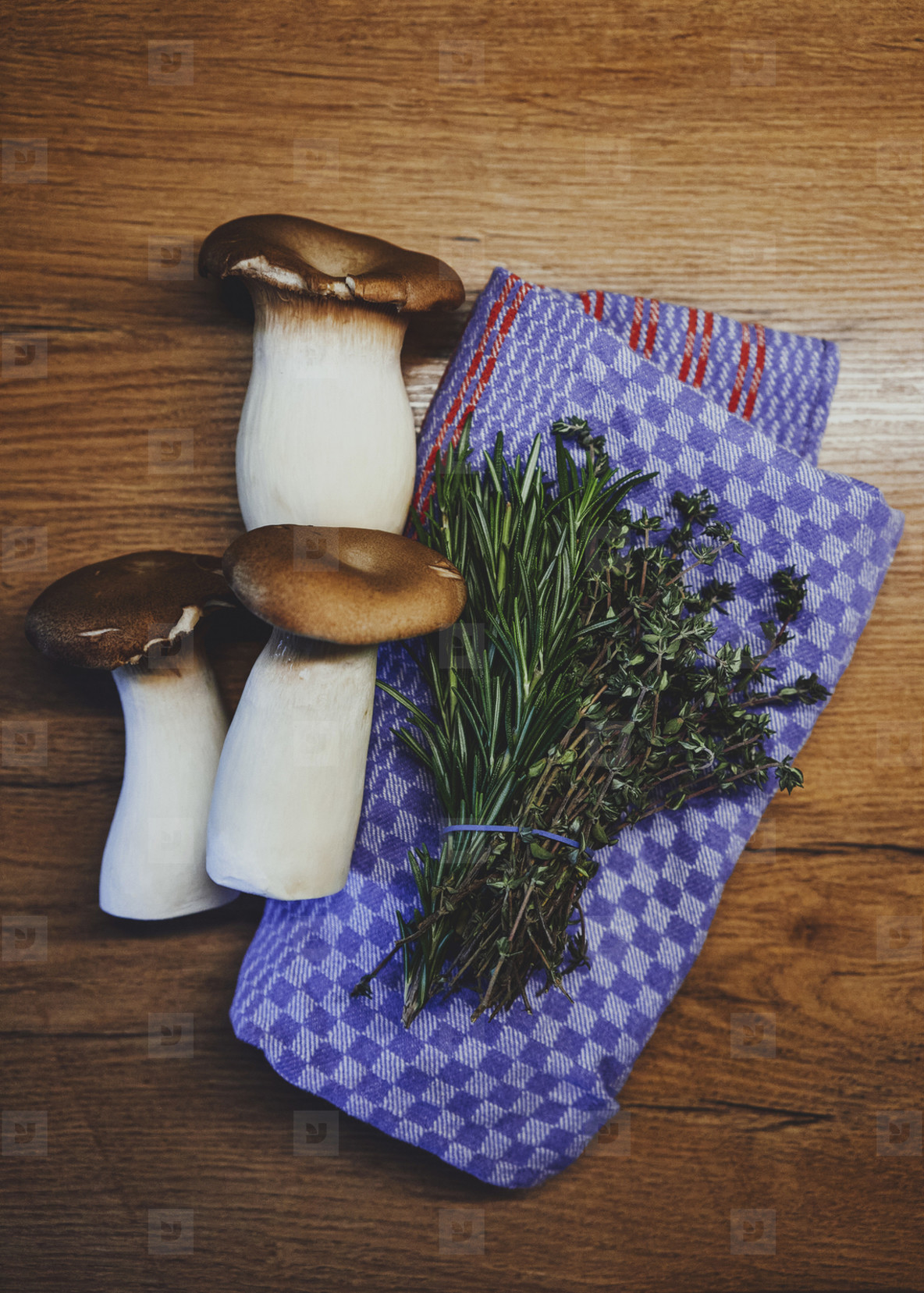 Fresh king oyster mushrooms and herbs on kitchen towel on wood table