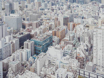 Aerial view buildings and cityscape Tokyo Japan