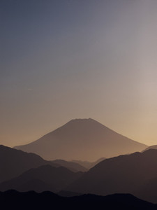 Scenic silhouette view of Mount Fuji Japan