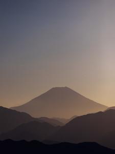Scenic silhouette view of Mount Fuji Japan