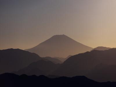 Silhouetted Mount Fuji at sunrise Fuji Hakone Izu National Park Japan