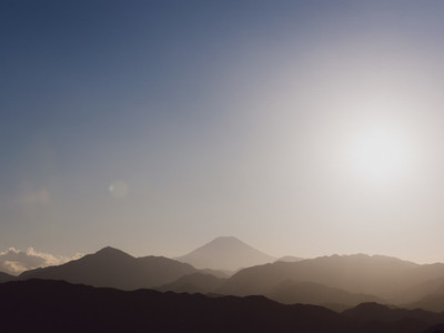 Scenic tranquil silhouette view Mount Fuji Japan