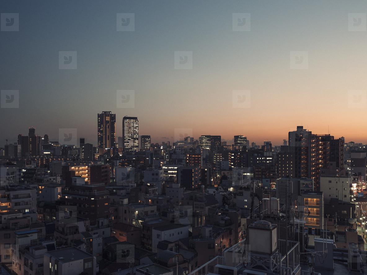 Cityscape buildings at dusk Tokyo Japan
