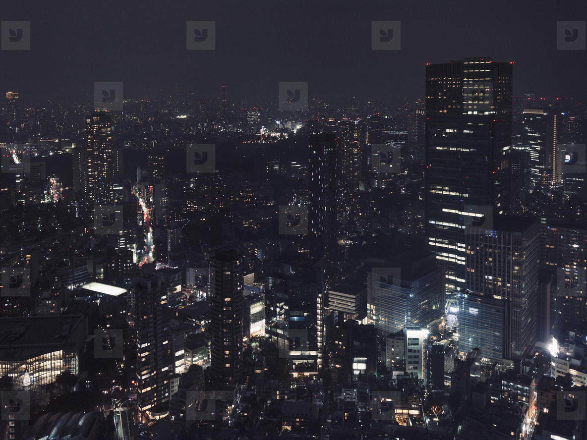 Illuminated buildings and cityscape at night Tokyo Japan