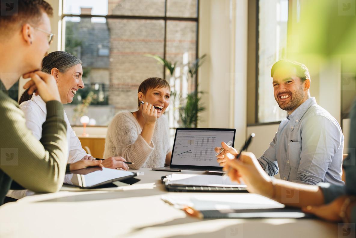 Happy business team meeting
