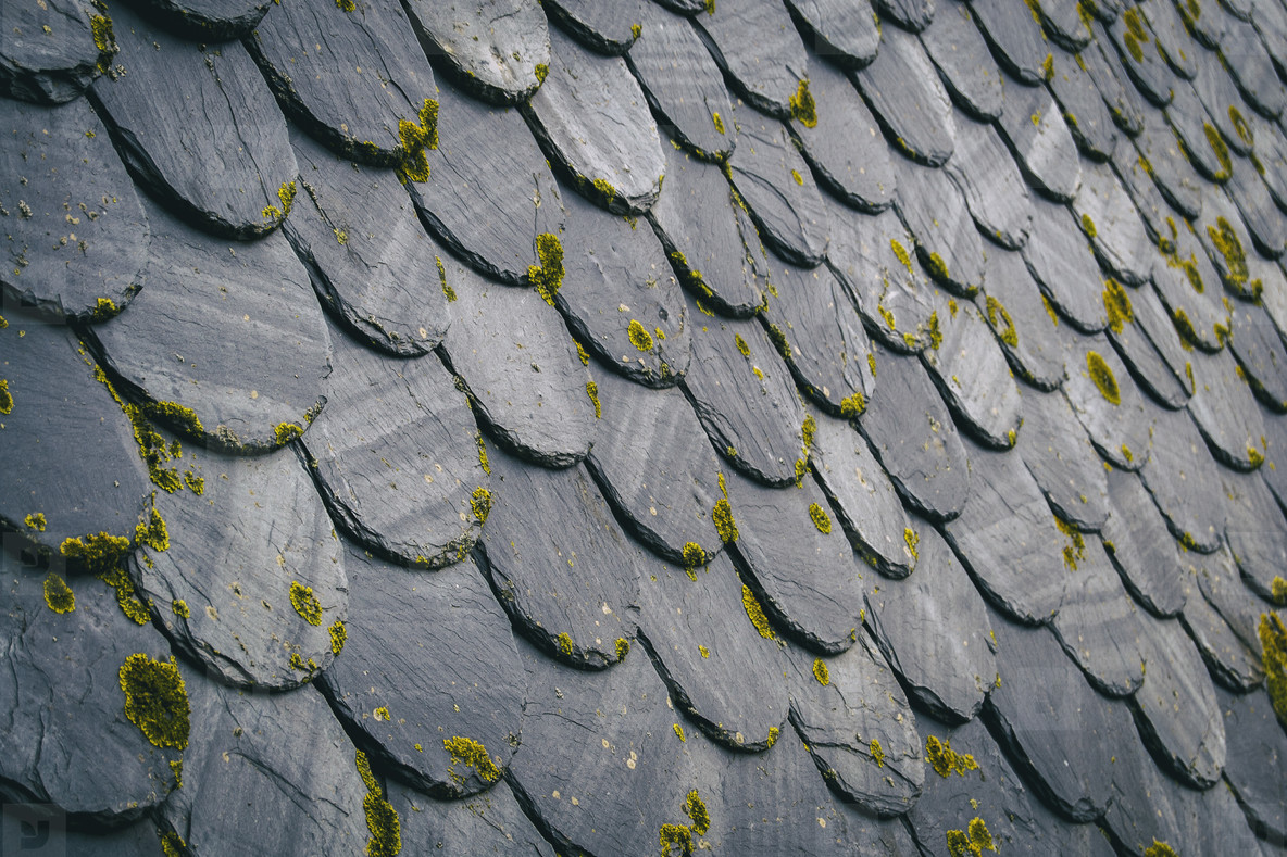 roof with old dark colored tiles  between black and gray