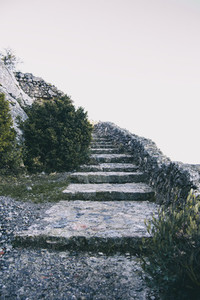 elongated stone stairs that ascend to the sky