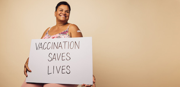 Senior woman with vaccination saves lives banner