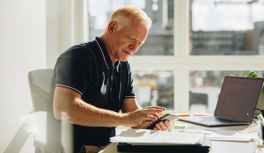 Senior businessman using mobile phone at work