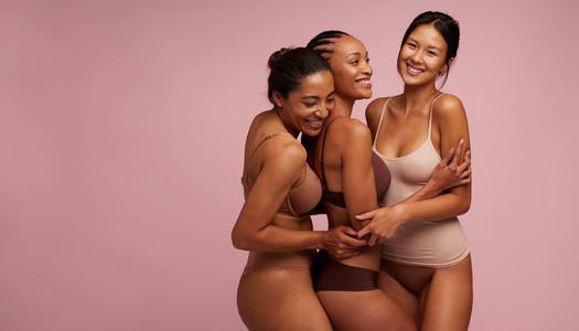 Group of divers women in underwear