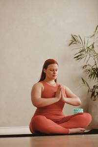 Woman practising meditation yoga