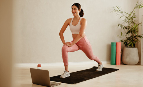 Fitness trainer conduct online workout class