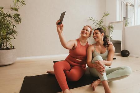 Selfie at fitness studio