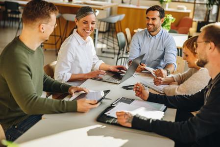 Startup office team meeting