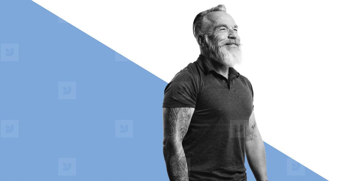 Smiling senior man with a beard