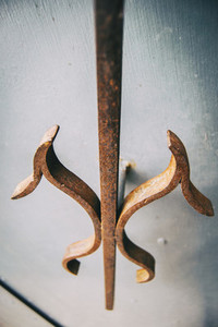 detail of an old wrought iron doorknob