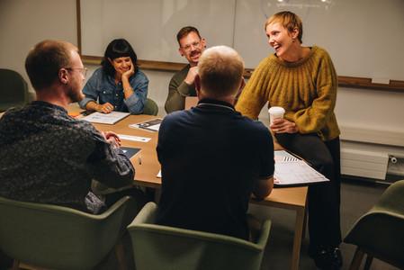 Business team having meeting in office boardroom