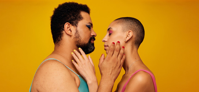 Affectionate gender fluid couple