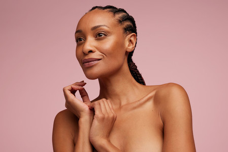 Woman with clean and clear skin