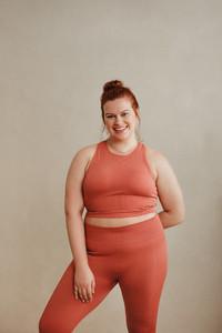 Portrait of a plus size woman in fitness wear