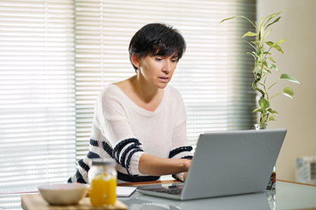 Woman teleworking from home with her laptop
