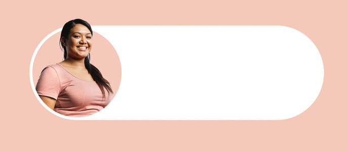 Portrait of smiling woman on a designer background