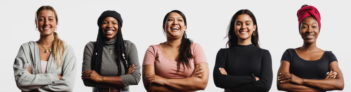 Panoramic view of cheerful women