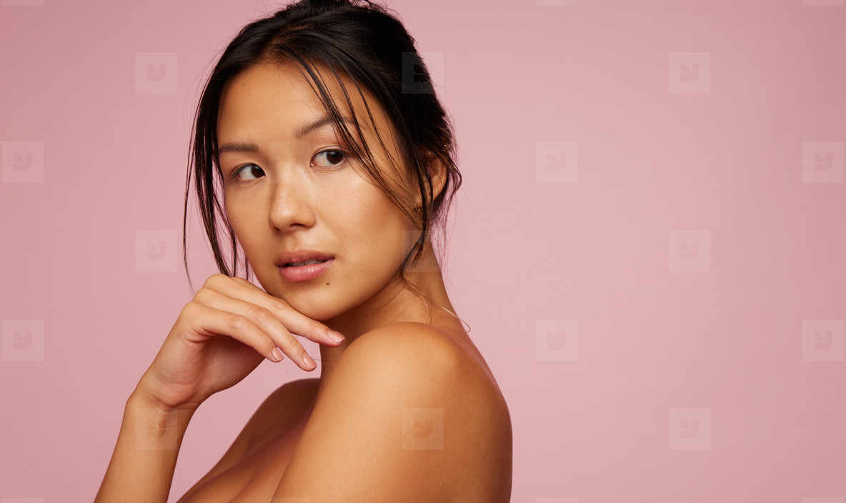 Natural beauty on pink background