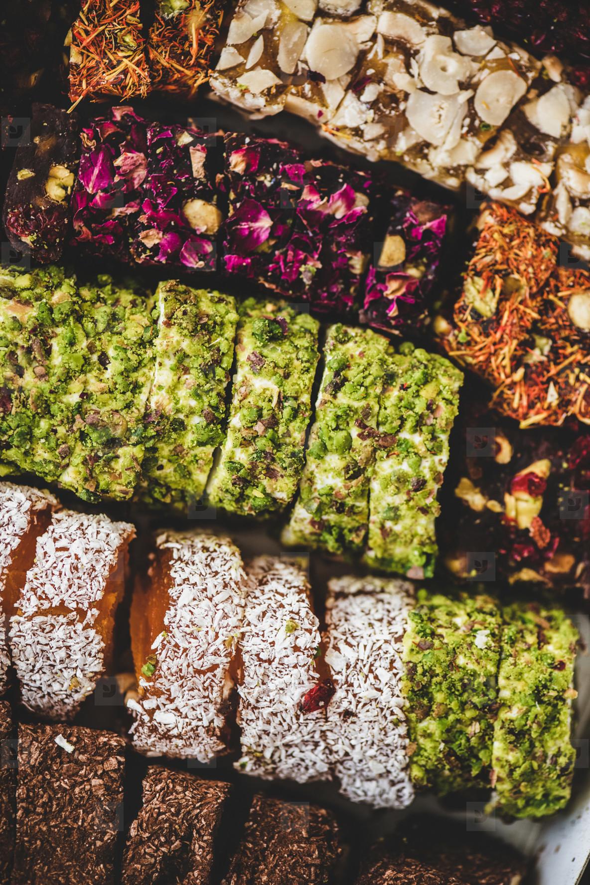 Turkish traditional lokum sweet delight wallpaper  texture  background  top view