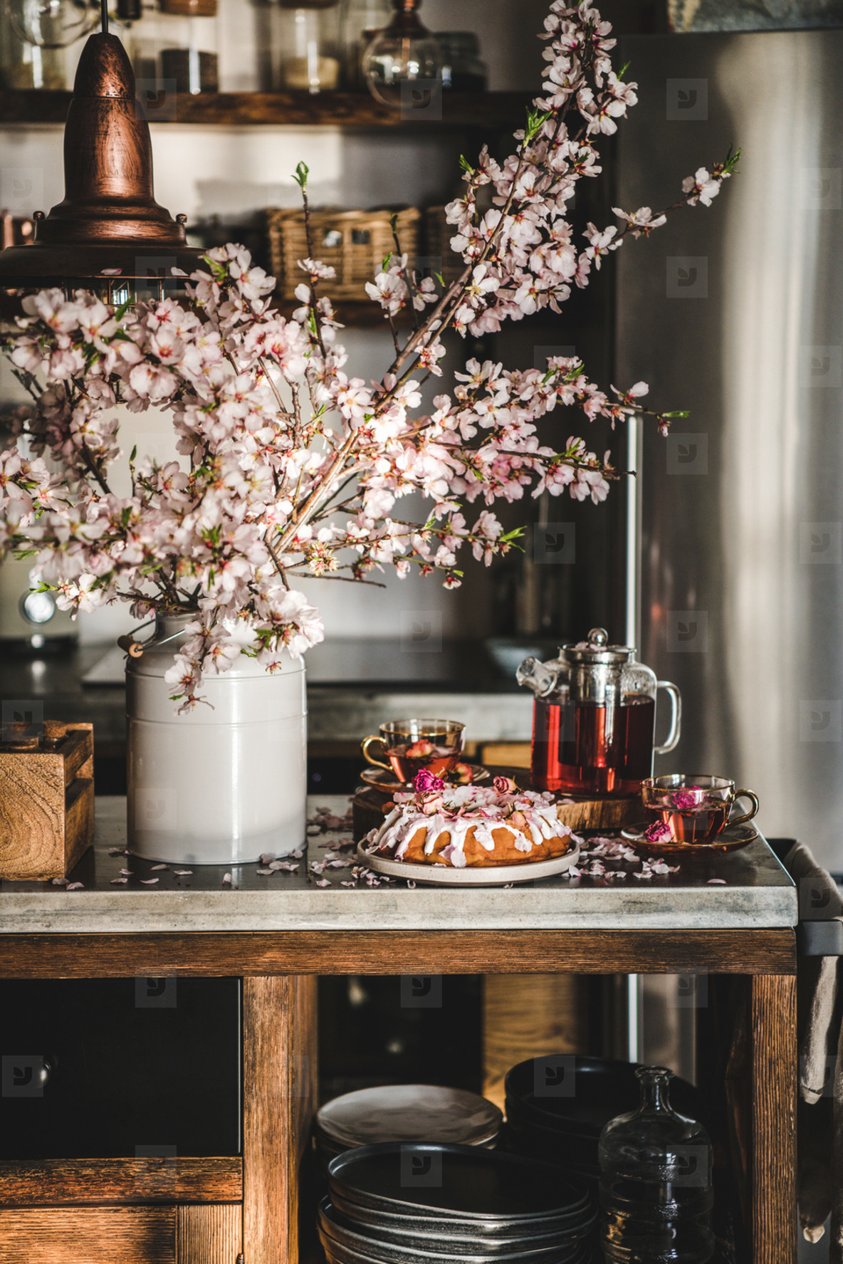 Rose and almond gluten free bundt cake with flowers and tea