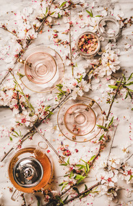 Flat lay of black tea and blooming spring flowers  white background