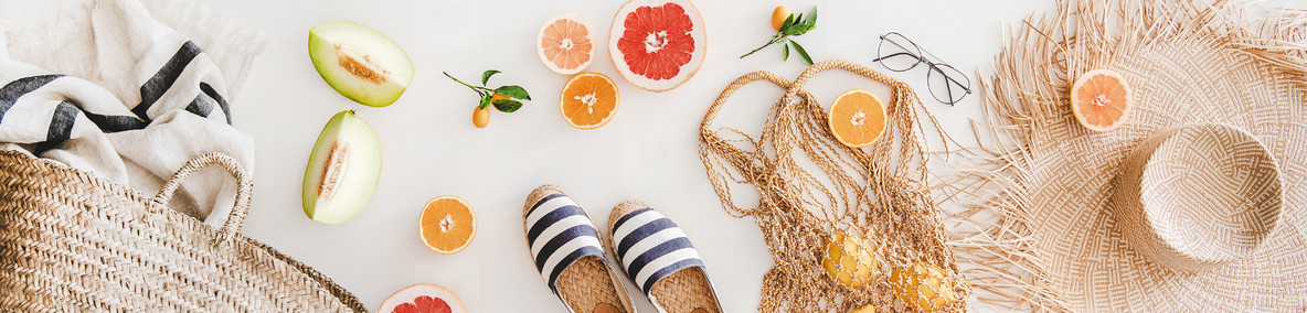 Summer mood layout with accessories and fruits  wide composition