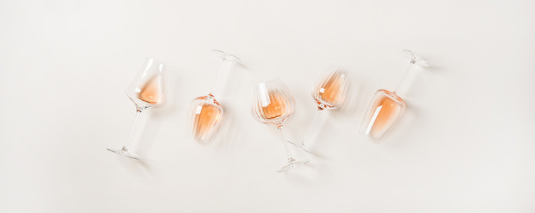 Flat lay of various rose wine in different wineglasses