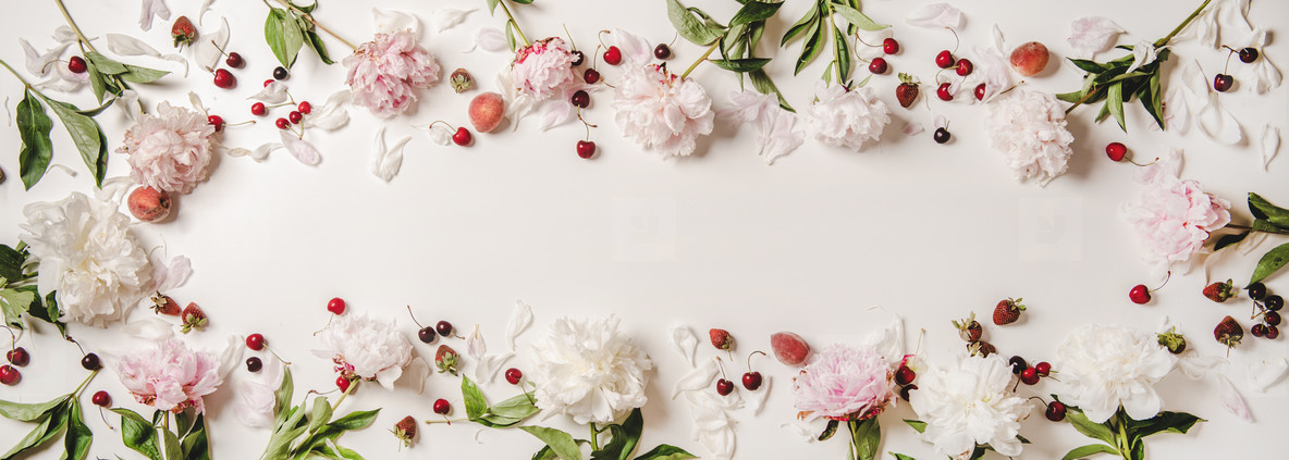 Summer layout with fresh fruits and blossom peony flowers