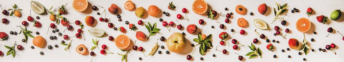 Fresh summer fruit and berries variety layout   wide composition