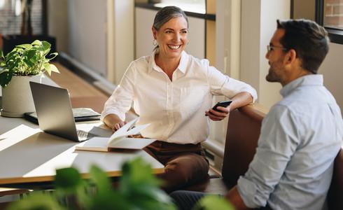 Senior businesswoman meeting with partner