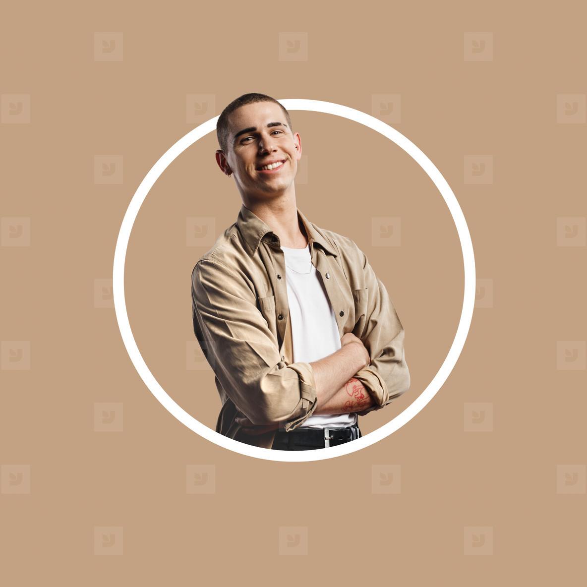 Circle crop shot of caucasian man