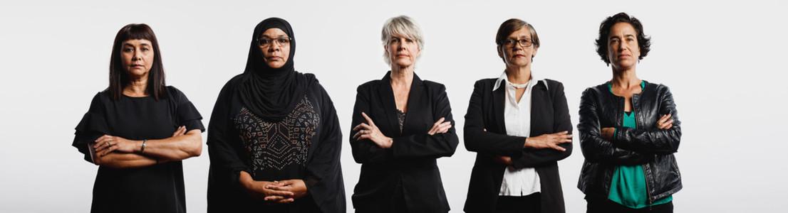 Group of multiethnic senior women