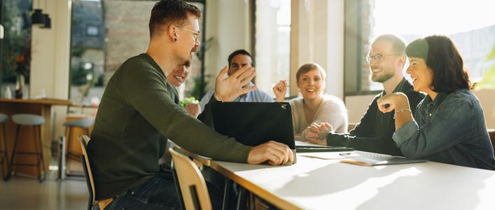 Team sharing creative ideas
