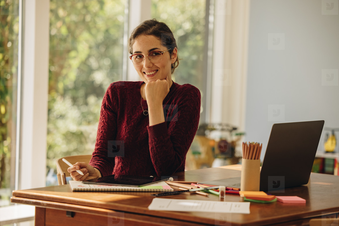 Female illustrator working