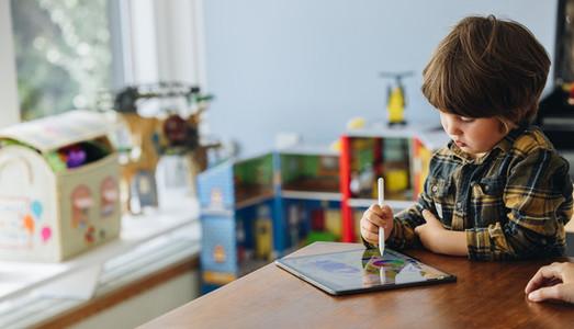 Boy using stylus pen to draw