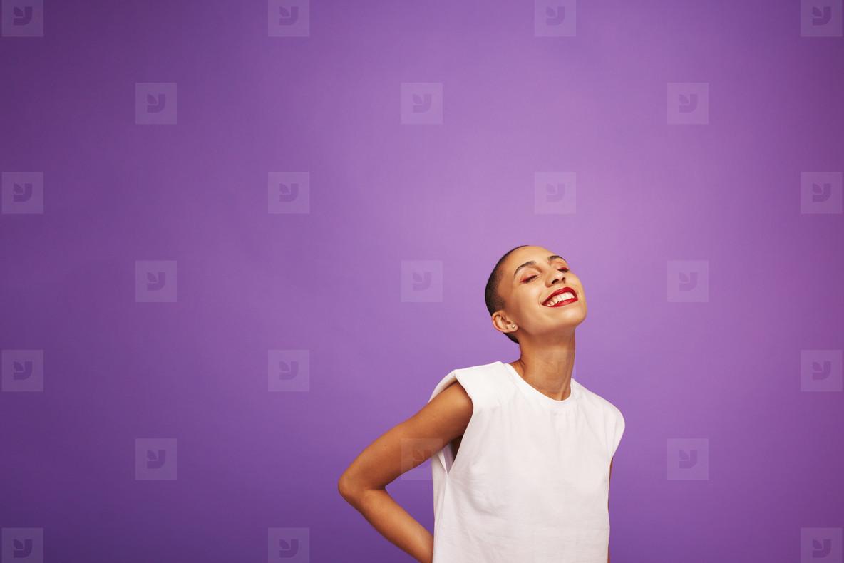 Beautiful woman model on purple background