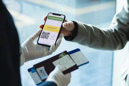 Passenger check in with immunity passport at airport