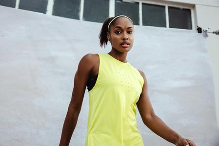 African female athlete in sportswear