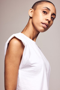 Androgynous female in white t shirt