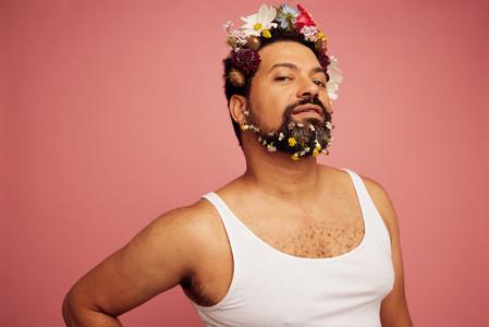 Drag queen wearing flowers